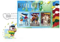 Estonian postage stamp 1999 3 flags_fdc