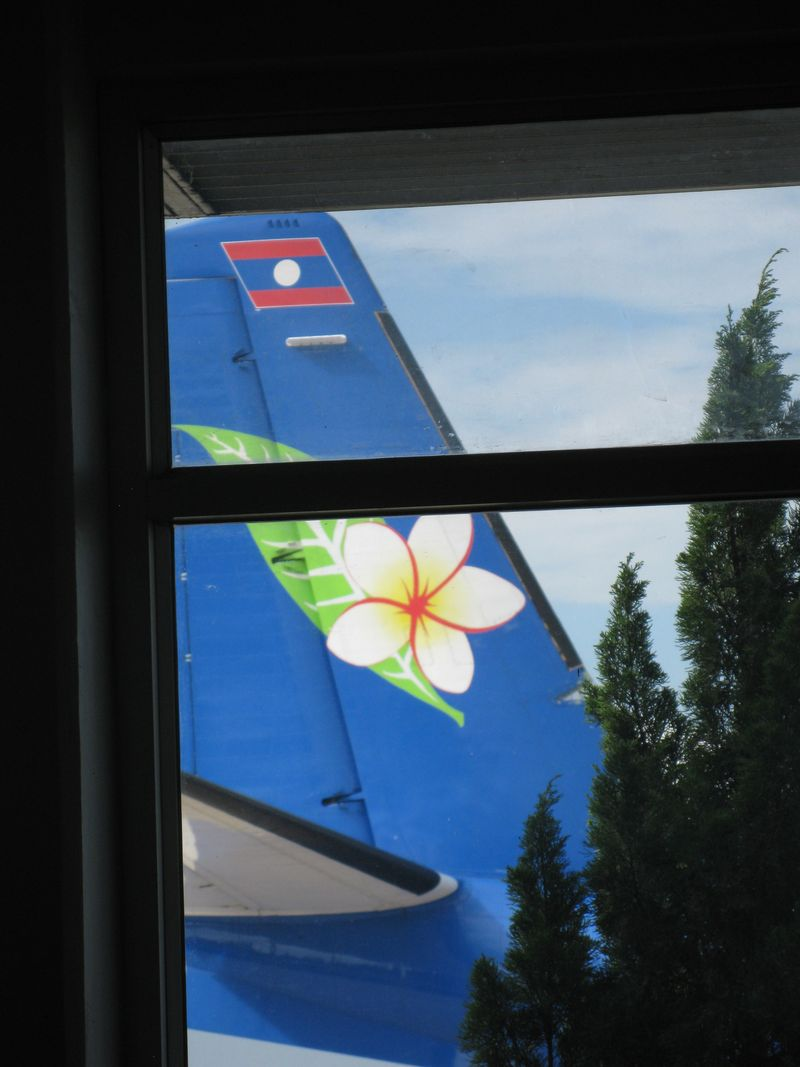 Laos - Laotian Airplane tail - Frangipani blossom by PHKushlis 2009 11 04 045