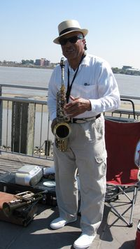 New Orleans, saxophonist TS Lark on Moonwalk 10-14-10 by PHKushlis IMG_1372
