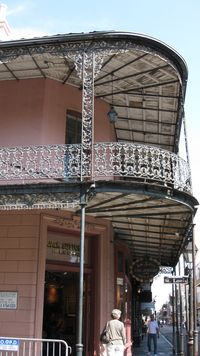 New Orleans, French Quarter, pink house and ornate balconies by PHKushlis 10-18-10 IMG_1445