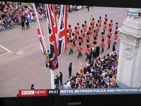 BBC Wedding coverage, Union Jack, Coldstream Guards, newsticker Bristol between police and protestors