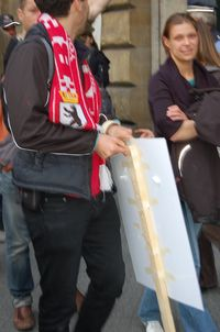 Berlin protester with stick