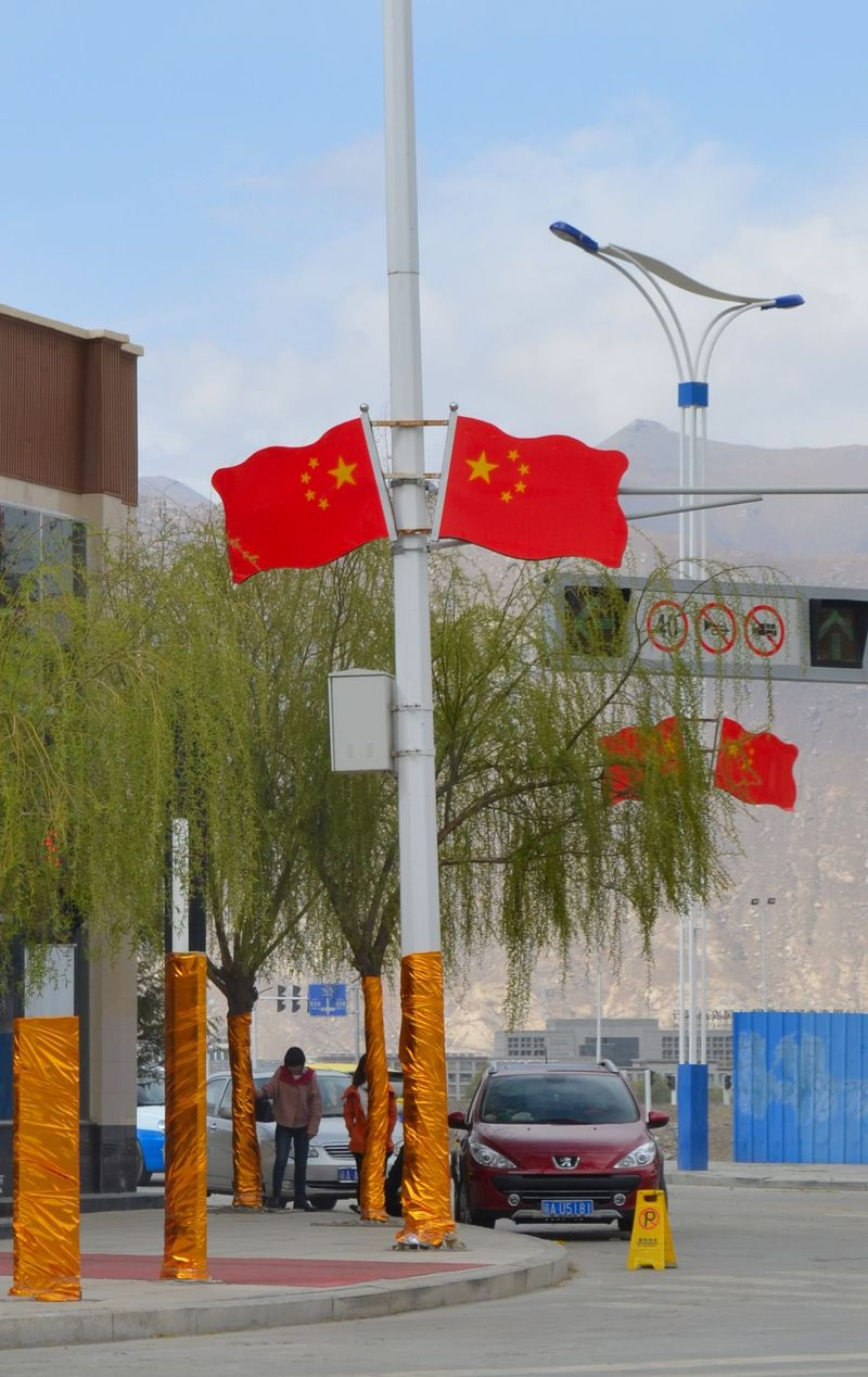 Flags on street in Lhasa