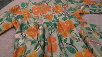 Jim Thompson Thai silk dress flowers, butterflies leaves jade green 1975
