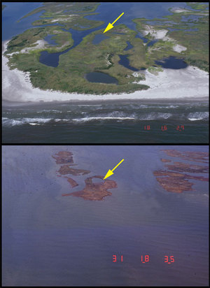 These photos are of barrier islands before and after Katrina.